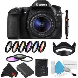 Canon EOS 80D DSLR Camera with 18-55mm Lens Bundle w/ 9 Piece Filter Kit (Intl Model)