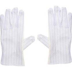 Anti Static Gloves Full Finger Labor Non-slip Glove for Electronics 230x90mm White 3 Pairs