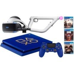 PlayStation 4 Days of Play PSVR FPS Shooter Bundle: PlayStation 4 1TB Days of Play Limited Edition Console, PSVR Headset, PlayStation Camera, Aim