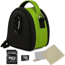 VanGoddy Neon Green Mini Laurel Camera Case for Digital Cameras with 16 GB SD Memory Card and Universal Screen Protector