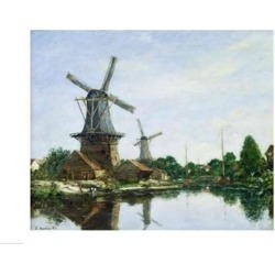 Posterazzi BALXIR52618LARGE Dutch Windmills 1884 Poster Print by Eugene Louis Boudin - 36 x 24 in. - Large