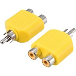 RCA Male to 2 RCA Female Connector Splitter Adapter Coupler Yellow 2Pcs for Stereo Audio Video AV TV Cable Convert