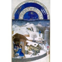 Posterazzi SAL3810514664 Winter on the Farm by Limbourg Brothers 15th Century 1385-1416 Poster Print - 18 x 24 in.