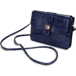 Horizontal Crocodile Themed Eco Leather Pouch w/ Shoulder Strap fits up to 6.1 x 3 inch Phones (Navy Blue)