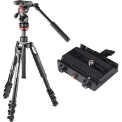 Manfrotto Video Tripod and 577 Rapid Connect Adapter with Sliding Mounting Plate
