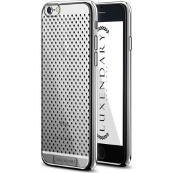 LUXENDARY BLACK CENTERED POLKA DOT PATTERN DESIGN CHROME SERIES CASE FOR IPHONE 6/6S PLUS