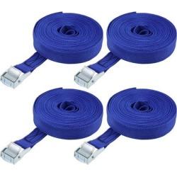 8M x 25mm Lashing Strap Cargo Tie Down Straps w Cam Lock Buckle 250Kg Work Load, Blue, 4Pcs