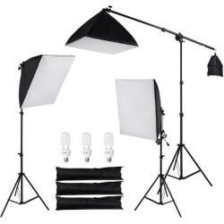 Photography Studio Kit w/ 3 Softbox 1 Boom Arm 3 Tripod Stands 3x45W Bulbs Photo Video
