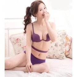 Women Deep U Plunge Bra Halter Strap Underwire Push Up Bra 75B Purple