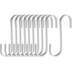 Stainless Steel S Hooks 3' Flat S Shaped Hook Hangers for Kitchen Bathroom Bedroom Storage Room Office Outdoor Multiple Uses 10pcs