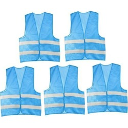 Reflective Mesh Design Security Vest for Jogging Traffic Safety Sky-Blue Color 5pcs found on Bargain Bro Philippines from Newegg Canada for $21.97