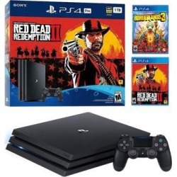 PlayStation 4 Pro 1TB Red Dead Redemption 2 Jet Black 4K HDR Gaming Console Bundle With Borderlands 3 - 2019 New PS4 Game!