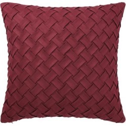Throw Pillow Cover Stylish Basket Weave Pattern Soft Solid Decorative Pillow Case Home Decor Design Cushion Cover for Sofa Bedroom Car, Red.
