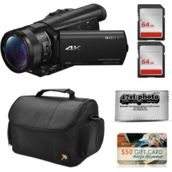 Sony FDR-AX100 4K Ultra HD Camcorder Video Camera + 128GB Memory, Carrying Case, Microfiber Cleaning Cloth