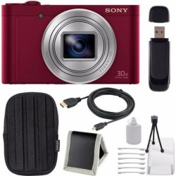 Sony Cyber-shot DSC-WX500 Digital Camera (Red) + Small Case + Deluxe Starter Kit + Memory Card Wallet + SD Card USB Reader + Micro HDMI Cable