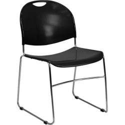 HERCULES Series 880 lb. Capacity Black Ultra-Compact Stack Chair with Chrome Frame