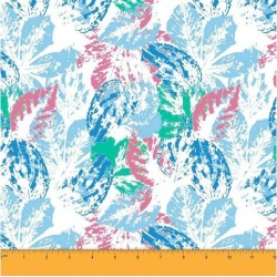 Soimoi Leaf Printed 58 Inches Wide Decorative Dressmaking Cotton Fabric For Sewing By The Meter 60 GSM - Pink