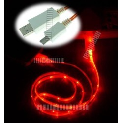 Red 3Ft 1M Illuminating Light Cable Micro USB Male to USB Male Data Sync & Charge for Samsung Galaxy S5 GS5 Sv G900 S3 S4 Siv LTE Note 2 II 3 III 8.0