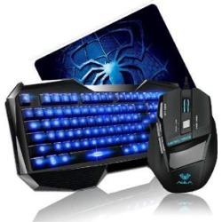 AULA Blue LED Backlight Multimedia USB Gaming Keyboard + 2000 DPI Ergonomic Gaming Mouse + Mouse Pad Set Gaming Combo
