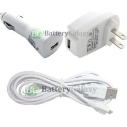 10FT Micro USB Cable Cord+Battery Wall+Car Charger Plug for Android Cell Phone