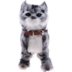 Electronic Plush Cat Toys Stuffed Toys Walking Cat Meow Toys Kids Toy Grey