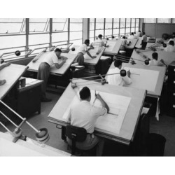Posterazzi SAL25548773 Rear View of Engineers Working in a Drafting Room Consolidated Engineering Company Rochester New York State USA - 18 x 24 in.