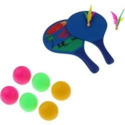 6pcs Table Tennis Balls Beer Ping Pong Cat Balls + Beach Tennis Racquets