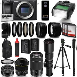 Sony Alpha a6300 Mirrorless Black Digital Camera with 16-500mm Zoom Lens Kit