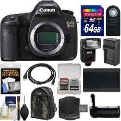 Canon EOS 5DS Digital SLR Camera Body with 64GB Card + Backpack + Flash + Battery & Charger + Grip + Remote + Kit