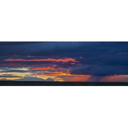 Posterazzi DPI12252436 Panoramic Vew of Sunset Lit Clouds & A Rain Shower Over Grasslands National Park - Saskatchewan Canada Print - 26 x 9 in.