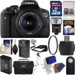 Canon EOS Rebel T6i Wi-Fi Digital SLR Camera & EF-S 18-55mm IS STM Lens with 32GB Card + Case + Flash + Battery & Charger + Tripod + Kit