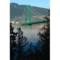 Posterazzi PDDCN02RBR0034 British Columbia Vancouver Lions Gate Bridge Over Fog Poster Print by Rick a Brown - 19 x 29 in.