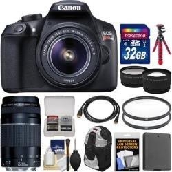 Canon EOS Rebel T6 Wi-Fi Digital SLR Camera & EF-S 18-55mm IS II with 75-300mm III Lens + 32GB Card + Backpack + Battery + Tripod + Tele/Wide Lens Kit