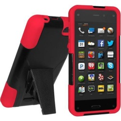Amzer Double Layer Hybrid Case with Kickstand - Black/ Red for Amazon Fire Phone
