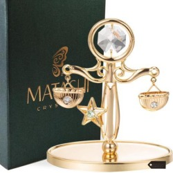 24K Gold Plated Scale Table Top Made with Genuine Colorful Matashi Crystals