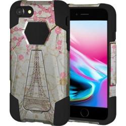 Amzer Dual Layer Designer Hybrid Case with Kickstand - White Vintage Eiffel Tower Paris Sakura Floral for iPhone 8