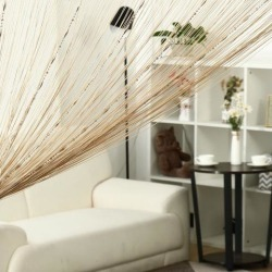 String Curtain Fringe Panel 39' x 79'(W*H) Thread Strip Backdrop Living Room Door Window Divider for Wedding Party House Decoration Champagne Color