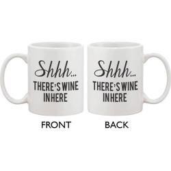 Funny Coffee Mug - Shhh… There's Wine In Here 11oz Ceramic Coffee Mug Cup