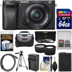 Sony Alpha A6300 4K Wi-Fi Digital Camera & 16-50mm Lens with 64GB Card + Case + Battery & Charger + Tripod + 3 Filters + Kit
