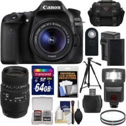 Canon EOS 80D Wi-Fi Digital SLR Camera & EF-S 18-55mm IS STM with Sigma 70-300mm Lens + 64GB Card + Battery & Charger + Case + Flash + Tripod Kit