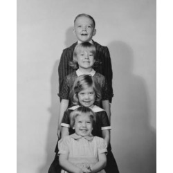 Posterazzi SAL2559986 Three Girls & a Boy Standing in a Row Poster Print - 18 x 24 in.