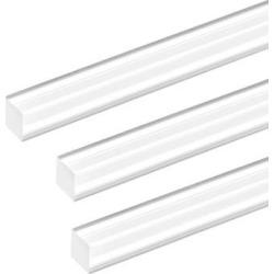 8mmx8mmx20inch Acrylic Rod Square Clear Acrylic Plastic Rod Solid PMMA Bar 3pcs