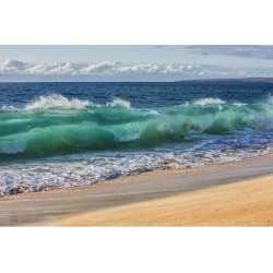 Posterazzi DPI12305773 Turquoise Ocean Water in a Curled Wave Along The Beach - Hawaii United States of America Poster Print by Scott Mead, 19 x 12