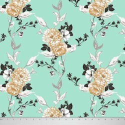 Soimoi 60 GSM Floral Printed 58 Inches Wide Dressmaking Cotton Fabric For Sewing By The Meter - Sea Green