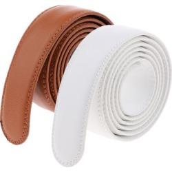2 Pieces Men Leather Replacement Belt Double Stitch Classic Design Belt 35mm