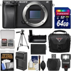 Sony Alpha A6300 4K Wi-Fi Digital Camera Body with 64GB Card + Case + Flash + Battery & Charger + Grip + Tripod + Kit