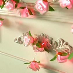 20led Battery LED Rose Christmas Lights Holiday String Lights Pink