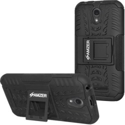 ZTE Blade L110 Case, Heavy Duty [Shockproof] Hybrid Hard Snap On Anti Slip Warrior Armor Protective Cell Phone Smartphone Case Cover with Stand &