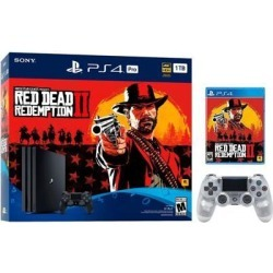 PlayStation 4 Pro 1TB Red Dead Redemption 2 Jet Black 4K HDR Gaming Console Bundle With an Extra Crystal DualShock 4 Wireless Controller