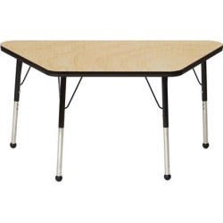 Mahar Manufacturing M3060TBL-SB Trapezoid Activity Table with Maple Top and Blue Edge, 30 x 60 in.